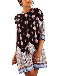 Minikleid Tunika Hippie Oversize Long-Shirt Rundhals Strandtunika