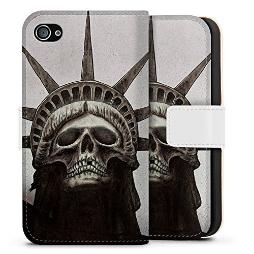 Apple iPhone X Silikon Hülle Case Schutzhülle Freiheitsstatue Skull Totenkopf Sideflip Tasche weiß