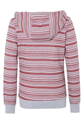 SUBLEVEL Damen Hoodie mit Ethno-Print   Sportlicher allover Print Kapuzenpullover Light-Grey
