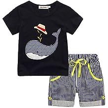 Ensembles Shorts et Haut Garçon, Bonjouree T-shirt Et Pantalons Courts à Rayures Pour Enfants Garçon 1-6 Ans