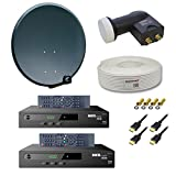 PremiumX Digitale HD SAT Anlage für 2 Teilnehmer 60cm Schüssel mit Twin LNB 0,1dB + 25m Sat Kabel 130dB + 2x Digital HDTV DVB-S2 Receiver inkl. HDMI-Kabel + 4x F-Stecker