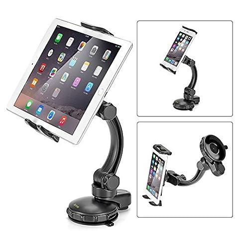 Kfz Halterung, iKross Universal Tablet und SmartPhone Kfz Auto Einstellbare Halterung mit am Armaturenbrett / Winschutzscheiben bis 10.1 Zoll iPhone iPad Sony Samsung GPS - Schwarz