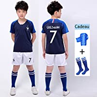 JY 2018 Coupe du Monde Kylian Griezmann NO.7 France-FFF- Équipe de Football Enfants Suit Maillot de Football Tops + Shorts