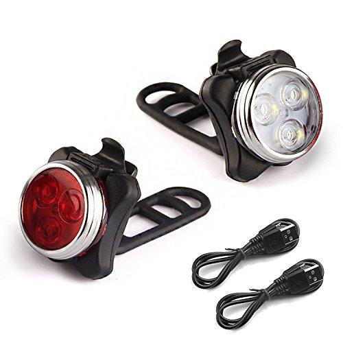 Luces Bicicleta – Rantizon Luces para Bicicleta con Recargable USB, Luces con Impermeable para Ciclismo, Batería de 650 mAh y 4 Modos, Instalación Fácil, para Deporte Nocturno, Correr