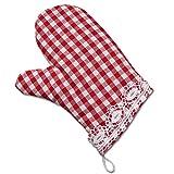 Küchentextilien von kollektion.MT Topfhandschuh Rot-Weiß-Kariert Serie Helena mit Spitze Ofenhandschuh im Landhaus-Look