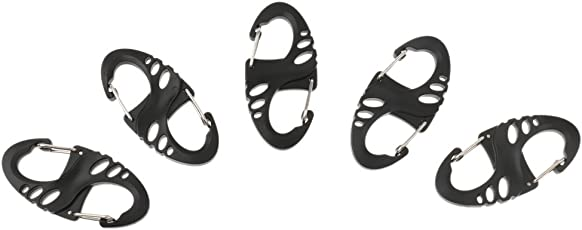 Magideal 5pcs 50mm S-Biner Plastic Clip Snap Hook Dual Buckle Keychain Hiking Camping