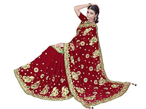 Women's Heavy Embroidery Work Designer Sari mit Ungesteckt Bluse/Top Mirchi Fashion Bridal Wedding saree (Designer Bridal Sarees)