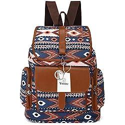 Yoome Mujeres Bohemia Casual Ligero Lona Boho Mochila Escuela Colegio Laptop Bolsa Viaje Daypack Azul Azul Mid