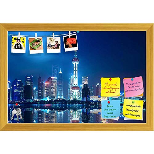 Artzfolio Night Shanghai Skyline With Reflection, China Printed Bulletin Board Notice Pin Board | Golden Frame 23.5 X 16Inch