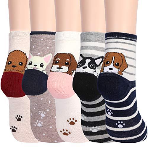 Jielucix Süße Socken aus Baumwolle Geschenk für Frauen 5 Paare (Puppy)
