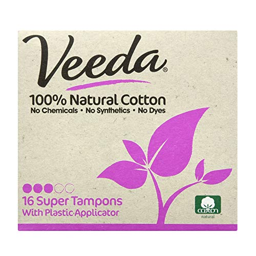 veeda natur all-cotton Tampons, Super, Compact Applikator, 16 Count