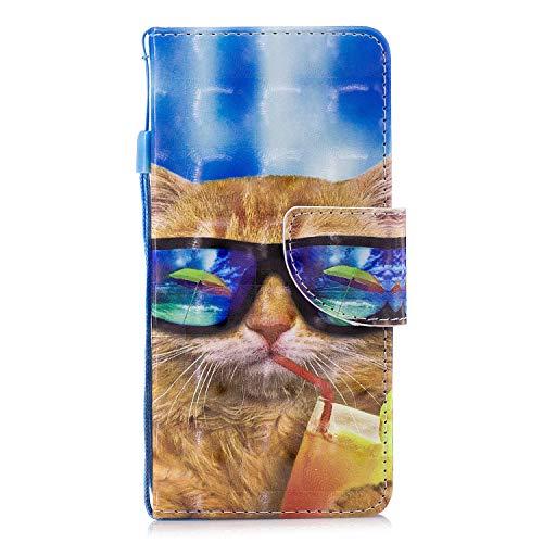 ShinyCase Sony Xperia E5 Flip Brieftasche PU Ledertasche Handyhülle Wallet Case 3D Bling Glitzer Tasche im Brieftasche-Stil Katze mit Brille Muster Cover Schütz Hülle Abdeckung Ledertasche