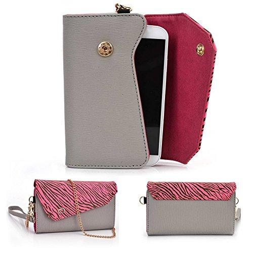 Kroo Lien de série universel femmes portefeuille Wristlet sac à bandoulière Compatible avec de nombreux 4à 12,7cm Étui pour Archos/Blackberry/Blu/Google/HTC Téléphone portable Multicolore - Noir/gri Multicolore - Grey with Pink Zebra
