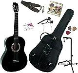 Pack Guitare Classique 4/4 (Adulte) Gaucher Avec 7 Accessoires (noire)