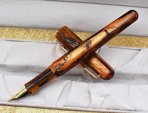 Picasso EtSandy Aurora 975 Estuche para estilográfica, Iridium Fina Pluma celuloide Vintage Plumas, Pluma de caligrafía, Plumas ejecutivas (ámbar)