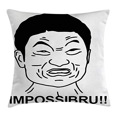 llow Cushion Cover, Funny Impossibru Quote with Angry Asian Guy Meme Sarcasm Web Chat Design, Decorative Square Accent Pillow Case, 18 X 18 Inches, Black White ()