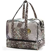 HOYOFO Double Layer Waterproof Travel Tote Wash Bag Beach Swimwear Bathrobe Packs Sports Handbag Dry And Wet Separation Organizer Pouch,Brown