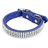 Tiaobug PU-Leder Hundehalsband Rund Schwarz Pink Lila Blau Rot Verstellbar Strass Pet Halsbänder für Kleine Hunde (Blau)