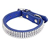 iEFiEL Lederhalsband Hundehalsband Strass Strasshalsband PU Leder Halsband Hund Welpenhalsband in 5 Farben (Blau)