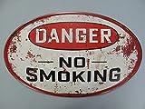 Nostalgie Blechschild oval Danger No Smoking Classic Plate USA Retro Deko 56x34 cm