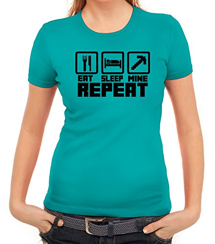 Computer Game Damen T-Shirt mit Eat Sleep Mine Repeat Motiv von ShirtStreet  karibikblau