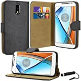 Motorola Moto G4 Case, Premium Quality Leather Wallet Case Cover Comes with Moto G4 Screen Protector & Stylus Pen / Moto G4 Case