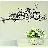 FNKDOR Scherzt Vinyl Karikatur Eulen Schmetterlings Wand Aufkleber Dekor Haus Abziehbild