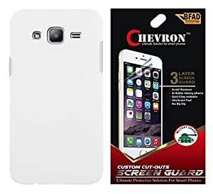 Chevron Rubberized Matte Hard Back Cover Case for Samsung Galaxy On5 with HD Screen Guard (White)
