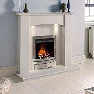 White Marble Stone Surround Gas Fireplace Suite Silver Inset Gas Fire with Downlights