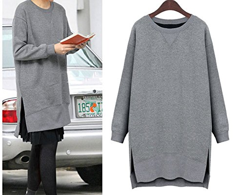 Femme Sweat-shirt Pull à Col Rond Manches Longues Outerwear T-Shirt Casual Pullover Robe Gris