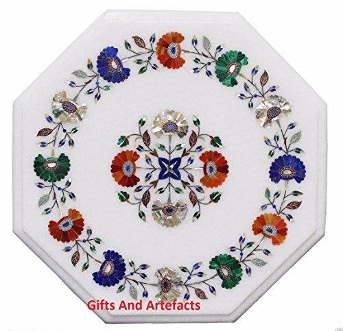 Inlay-top-couchtisch (Gifts And Artefacts 40,6cm weiß Marmor achteckig Multi Farbe Stein Couchtisch Top Inlay Blume Design)