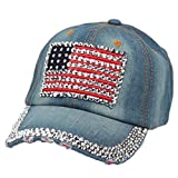 UFACE Cowboy-Baseballmütze Hohe Qualität Cowboy Hip-Hop-Baseballmütze voller Diamant flache Hysteresenhut (B)