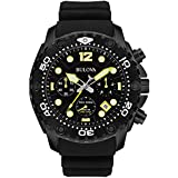 Bulova Sea King Men's UHF Watch with Black Dial Analogue Display and Black Rubber Strap 98B243
