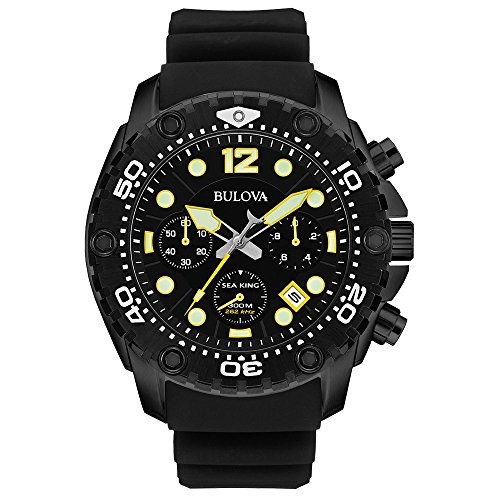 Bulova-Sea-King-Mens-Quartz-Watch-with-Black-Dial-Analogue-Display-and-Black-Rubber-Strap-98B243