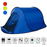 YUEBO Pop up Zelt, 1-2 Personen Wurfzelt Wasserdichte Super Leicht Strand Zelt, Zelt Sekunden-Setup für Festival Camping, 3 Jahreszeiten