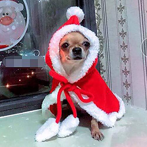 Homemust Haustier Weihnachten Kostüme Hund Anzug mit Mütze Weihnachtsmann Anzug Hund Hoodies Katze Weihnachten Kostüme Party Anzug, Hund Welpen Pullover Weihnachten Pullover - Amp Anzug Kostüm