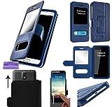 CAMPUS TELECOM Étui Housse Pochette Coque Bleu Double Fenêtre Ultra Slim Universelle Logicom L-ement 501 (5 Pouces)