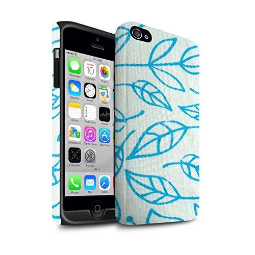 STUFF4 Matte Harten Stoßfest Hülle / Case für Apple iPhone 7 Plus / Blumentuch Muster / Heimtextilien Kollektion Blaue Blätter/Herbst