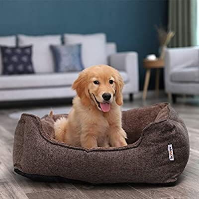 FEANDREA Washable Plush Dog Bed with Removable Cover, Cuddly Dog Sofa, Brown by FEANDREA