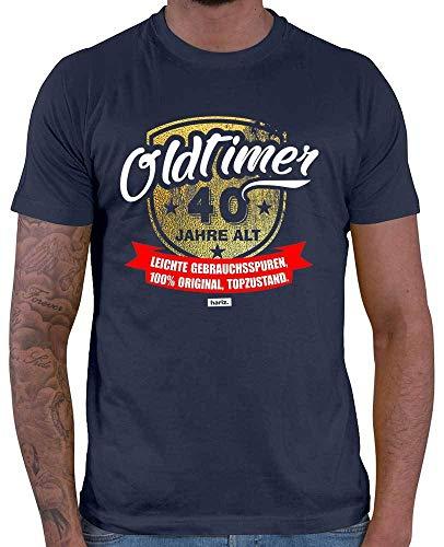 HARIZ  Herren T-Shirt Oldtimer 40 Jahre Alt Leichte Gebrauchsspuren Top Zustand 40 Geburtstag Sprüche Inkl. Geschenk Karte Navy Blau L