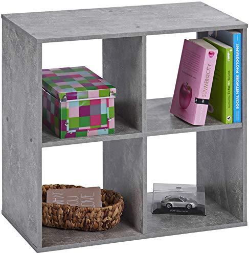 ts-ideen Standregal Bücherregal Aufbewahrung Betonoptik Grau 4 Fächer DVD + CD-Regal 60 x 60 cm