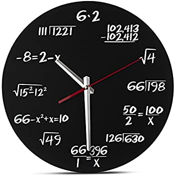 FUNK Wanduhr Mathe FunkUhr Uhr Glas Mathematik Mathe