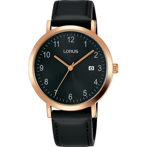 LORUS- QUARTZ GENTS ROSE GOLD BLACK DIAL STRAP WATCH