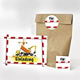 16 Einladungskarten, 16 Geschenktüten und 16 Etiketten zum Kindergeburtstag - Motiv Bauarbeiter Baustelle Einladung - für Geburtstagseinladungen Party