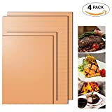 Warmoor BBQ Copper Grill Mat set of 4,Non Stick Oven Liner Teflon Cooking & Baking Mats, perfect for Grilling Meat, Veggies, Seafood,Eggs on Gas, Charcoal, Convection, Dutch, Pizza and Electric Grills