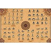 The Mindful Word Yoga Poses Póster (61 x 91 cm) – Poster de Lona Ligera para Yoga con 62 Asanas / Estiramientos / Posiciones / Postura de Yoga en Inglés en Sánscrito