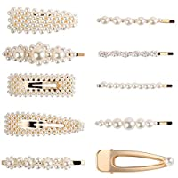 10 PCS Fashion Imitiation Pearl Hairpins Korea Vintage Flower Barrettes Long Hair Clips Accessory Handmade Metal Golden Hairgrip for Women Girls