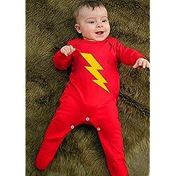 Pyjamas super-héros pour bébés (garçon ou fille) | Chemise de nuit avec Lightning Strike - Idée cadeau ou premier costume de naissance - BABY MOO'S UK - 3-6 mois (6-12 mois)