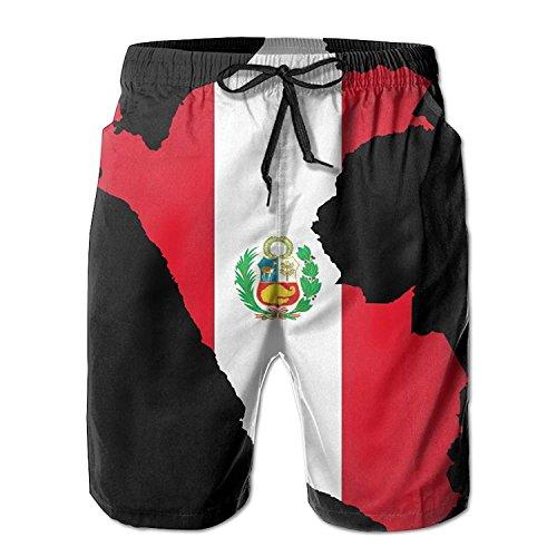 03396cba12868 Funny&shirt Peru Flag Map Men's/Boys Casual Shorts Swim Trunks Swimwear  Elastic Waist Beach Pants