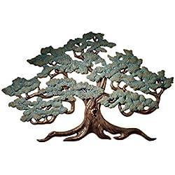 Design Toscano Baum des Lebens Wandskulptur, Polyresin, zweifarbig bronze und grünspan, 94 cm